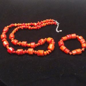 Barse Red Coral Bamboo Necklace and Bracelet